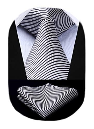 BIYINI Corbata Rayas y Panuelo de Hombre,Corbata y Plaza de bolsillo Conjunto Corbatas para Boda Fiesta Regalo de Cumpleaños