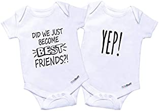 TWINSTUFF Twin Onesies Outfits for Baby Girls & Boys, Perfect for Newborn Twins 2 Pack
