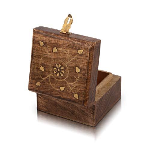 Handgemaakte decoratieve houten sieradendoos met gratis slot & sleutel sieraden Organizer Keepsake Box schatkist Trinket houder Lock Box Horloge Box 10.16 x 10.16 cms Grote verjaardag Gift Ideeën