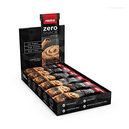 Prozis Zero Snack Barra Rico En Proteína y Bajo en Hidratos de Carbono y Azúcares, Rollo de Canela - 12 x 35 g