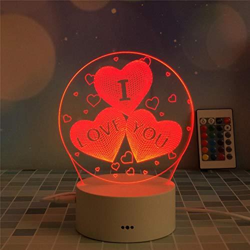 Regalo creativo USB batería táctil control remoto colorido luz nocturna 3D creativa mesa de regalo - _Love