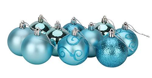 Christmas Concepts Confezione da 10-60mm Baubles per L'Albero di Natale - Baubles Decorati Lucidi, opachi e Glitterati (Turchese)