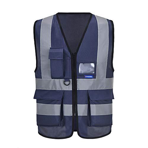 Chalecos de Seguridad Alta Visibilidad Trabajo Fluo (3XL, Azul Marino)
