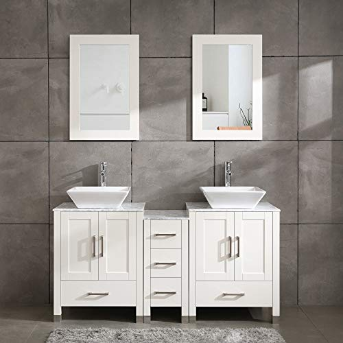 60' Bathroom Vanity Cabinet Double Sink White Solid Wood w/Marbel Counter Top