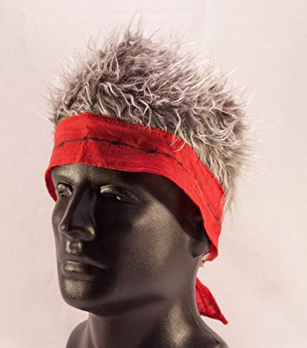 Red Barbed Wire Bandana with Gray Hair
