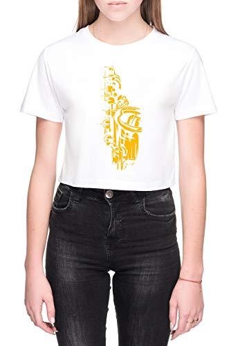 Saxofoon Keywork Dames Crop T-Shirt Wit Women's Crop T-Shirt White