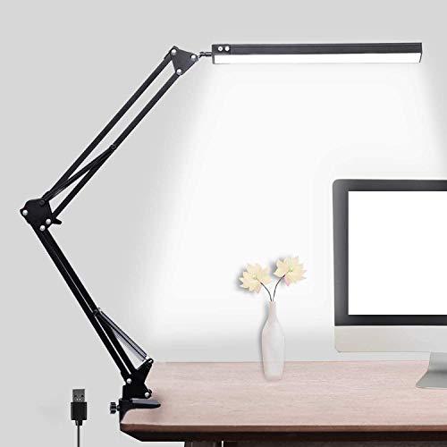 Schreibtischlampe LED Schreibtischleuchte Klemmbar 14W Led Tischlampe Schreibtischlampe, Büro Tischlampe mit 3 Farb und 10 Helligkeitsstufen, 5V/2A USB-Kabel Augenschutz Büro Led Tischlampe