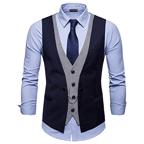 YCUEUST Chaleco Hombre de Vestir Traje Boda Ceremonia Waistcoat Blazers Sin Mangas Azul Large