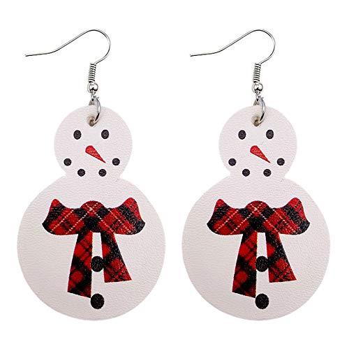 jieGorge Pendientes, Pendientes de Cuero con muñeco de Nieve navideño Que la niña agrega a la atmósfera Festiva, Joyas para Regalos de Mujer (A)