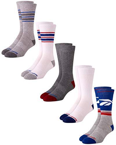 Reebok Men's Cushioned Comfort Athletic Performance High Crew Socks (5 Pack) (Blue/White, Shoe Size: 6-12.5)