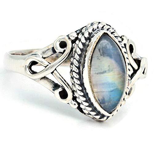 Ring Silber 925 Sterlingsilber Regenbogen Mondstein weiß Stein (Nr: MRI 183), Ringgröße:52 mm/Ø 16.6 mm