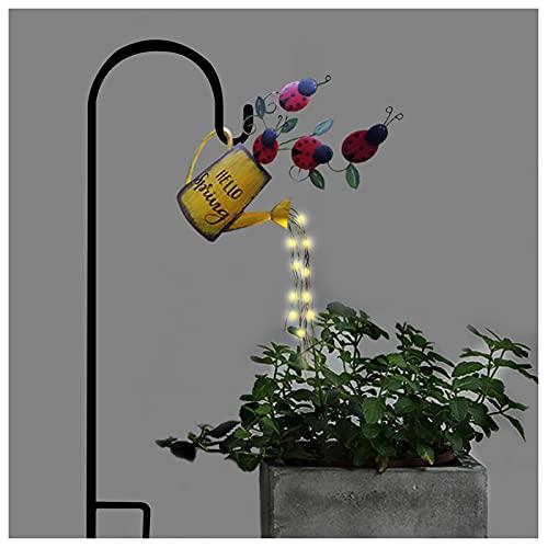 Al aire libre de hadas jardín riego puede luces pilas colgante impermeable arte cadena lámparas estrella ducha luz metal adornos patio valla camino decoración accesorios