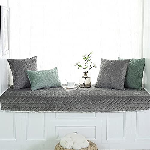 Felpa Mirador Mat cubierta de asiento del sofá Fundas espesado antideslizante Sofá Ventana cubierta Bench Seat Cojín interior alfombras de área de la alfombra de ratón Pad Chair,Gris,110×180cm