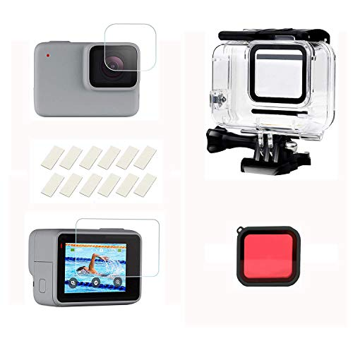 Kingwon 45 meter waterdichte behuizing voor GoPro Hero 7 wit/zilver, beschermbehuizing voor duiken met displaybeschermfolie gehard glas + rood filter + anti-condenslaag
