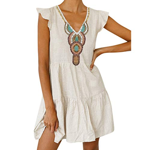 Best Price Women's Boho Printed Dresses,Summer Linen Short Sleeve V-Neck Maxi Dress Hem Baggy Kaft...