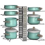 EZOWare Organizador para Ollas y Sartenes, 8 Estantes Rack Soporte Ajustable con 3 Métodos de Posicionamiento, Almacenamiento y Organización para Encimera o Armario de Cocina - Plateado