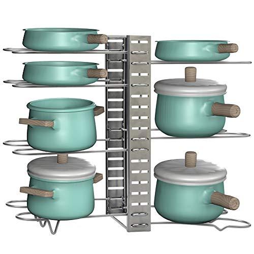 EZOWare 8+ Kochtöpfe und Pfannen Organizer, 8-Stufige Verstellbarer Küchenablage Pfannenhalter mit 3 Positionierungs, Aufbewahrung und Organisation für Küchenschrank und Arbeitsplatte - Silber