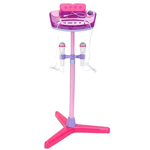 deAO Kinder Aufstehende Karaoke-Maschine Spielset mit Zwei Mikrofonen, Verstärker, eingebauter MP3-Buchse und LED-Leuchten (pink)