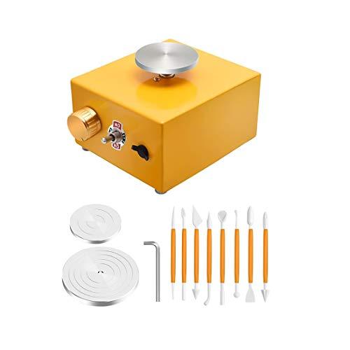 Mini Pottery Wheel, 6,5 cm & 10 cm Plattenspieler Mini Electric Pottery Machine 0-300 U/min ≤ 60 dB DIY Tonwerkzeug mit Tablett 220 V für Keramikarbeiten Keramik Ton Kunsthandwerk