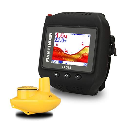 SLONG Buscador de Peces Tipo Reloj, con Sensor de sonda inalámbrico y Monitor de Pantalla LCD, Que Muestra la Profundidad, la Temperatura del Agua, el tamaño de los Peces y la ubicación de los Peces