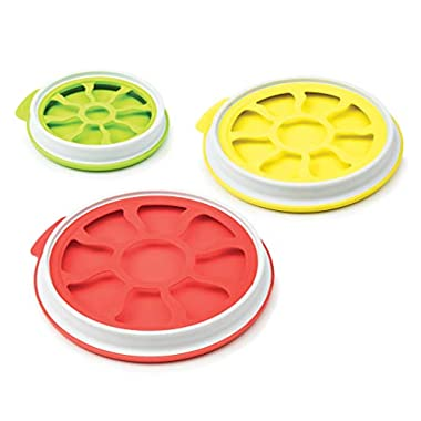 Tovolo Set of 3 Seal 'N Store Produce Keeper Food Storage for Fruit, Onions & Veggies, Multi, Green/Red/Yellow