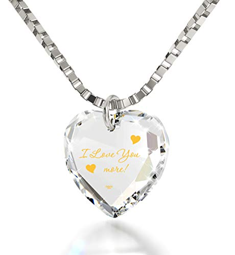 "Nano Jewelry I Love You More Necklace 24k Gold Inscribed onto a Tiny Heart Pendant Crystal, 18"" 925 Sterling Silver"