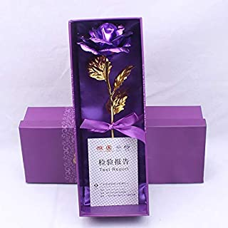 MSA JEWELS Combo of Purple Finish Rose Artificial Flower(24 Karat/CT Gold Rose) and 10cm Eiffel Tower Showpiece Gift