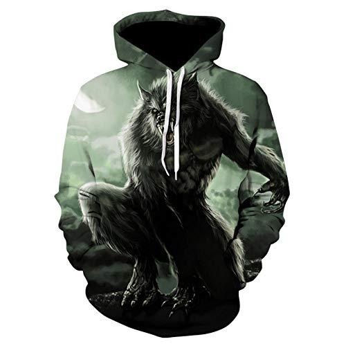 MSLFZ Kapuzenpullover,Mann/Frau Plus Size Film Werwolf 3D Print Sweatshirt Pullover Soft Neutral Grün XL