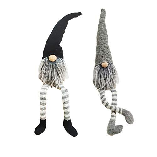 Toyvian 2 Stücke Plüsch Wichtel Figuren GNOME mit Langen Beinen Weihnachtswichteln Weihnachten Plüschtier Fenster Deko Kinder Spielzeug Geschenk (Grau + Schwarz)
