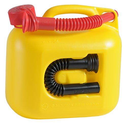 Kraftstoff-Kanister PREMIUM 5l für Benzin, Diesel und andere Gefahrgüter, UN-Zulassung, made in Germany, TÜV-geprüfter Produktion, gelb