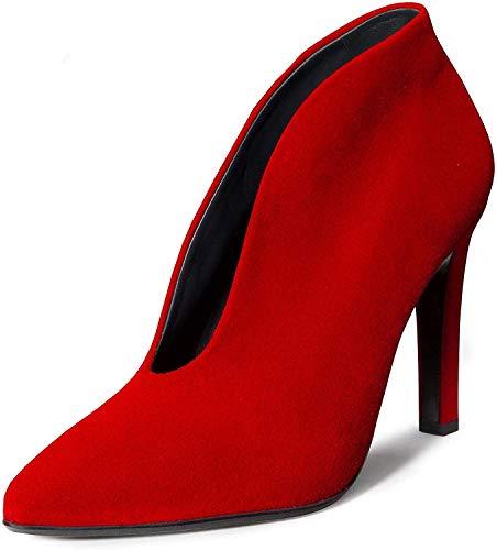 Paul Green 9437 15 Damen klassischer Pumps aus Veloursleder mit 90-mm-Absatz, Groesse 41, rot