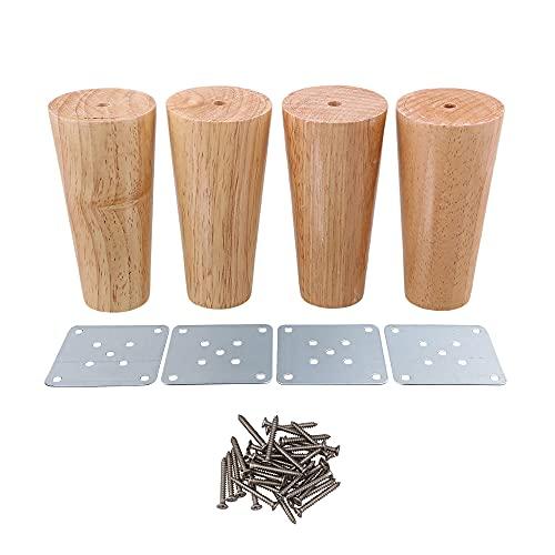 120x58x38mm Cone Material de madera Sofá Cama Cama Armario Mesa de té TV Gabinete Muebles de madera Patas Pies Paquete de 4