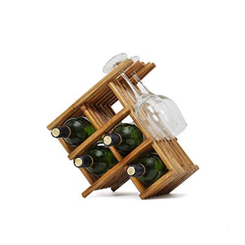 XUSHEN-HU Madera Estante del Vino - Wine Rack/Bodega/Storage- con Patas, no se Requiere ensamblaje, capaces Botella Superior del almacenaje del Vino Ranuras for 5 Botellas de Vidrio 3Wine Colgador