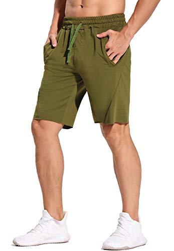 STARBILD Pantaloncini Sportivi da Uomo 2 in 1 Bermuda Estate Shorts Sport con Tasche con Cerniere per Palestra Corsa Fitness Jogging Running, C-Verde M
