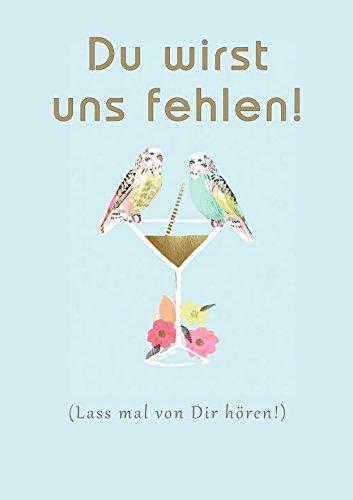 XXL A4 Abschiedskarten : Vögel Klappkarte zum Abschied Ruhestand oder Verabschiedung von Kollegen