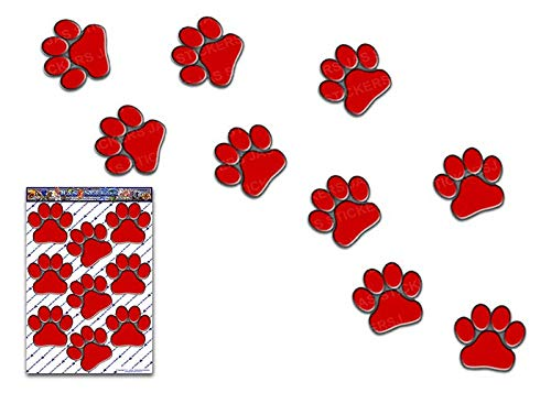JAS Stickers® Pfoten Tier Auto Aufkleber - Rot - Lustige Haustiere Große Vinyl Aufkleber Pack - Für Laptop Gepäck Fahrrad Caravans Van Camper Truck Boote - ST00002RD_3