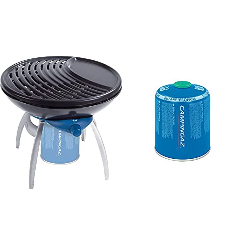 Campingaz Party - Barbacoa (Negro, Azul, Alrededor, Kettle, 2.3 Kg) + Cv 470 Plus Easy-Clic Cartucho Gas Con Valvula, Para Cocina Camping, Compacto Y Recipiente Sellable