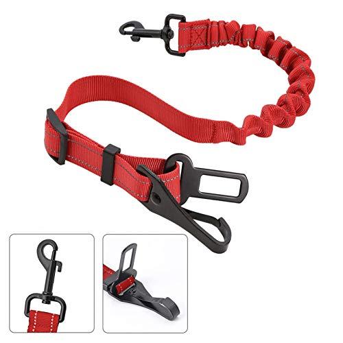 3-In-1 Haustier Auto Sicherheitsgurt,Sicherheit Gurt für Haustiere, Haustier Sicherheitsgurt,Haustiere Hundegurt,Haustiere elastischer Anschnallgurt,Einstellbar Hundegurt Sicherheitsgeschirr(Rot)