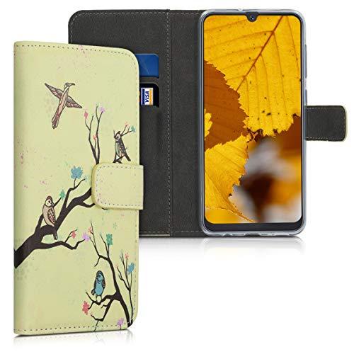 kwmobile Hülle kompatibel mit Samsung Galaxy A50 - Kunstleder Wallet Hülle mit Kartenfächern Stand Baum Vogel Blüte Orange Braun Beige