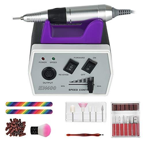 Swortrise Taladro de uñas para manicura y pedicura, eléctrico, para manicura y pedicura, con 6 brocas intercambiables para uñas (negro)