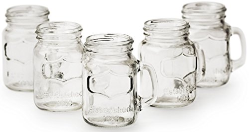 Circleware Simply Mason Jar Mug Shot Glasses with Handle Set of 6, Party Home Entertainment Dining Beverage Drinking Glassware for Brandy, Liquor, Bar Decor, Jello Cups, 1.7 ounce, Clear