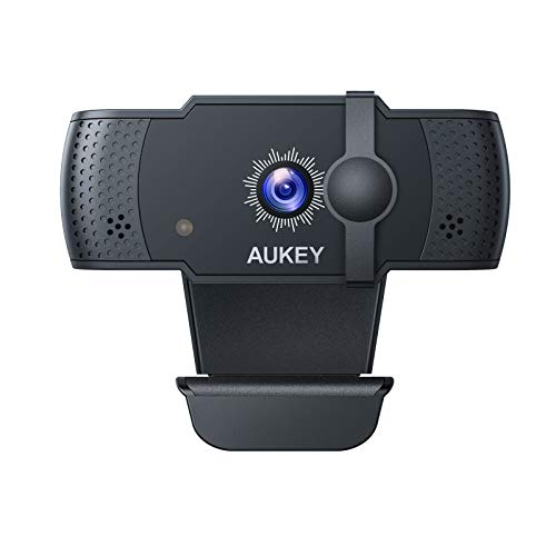 AUKEY Webcam 5 MP 1080p Full HD, Autofokus USB Web-Kamera mit Stereo-Mikrofon für Chat, Video und Aufnahme, kompatibel mit Windows, Mac und Android Desktop