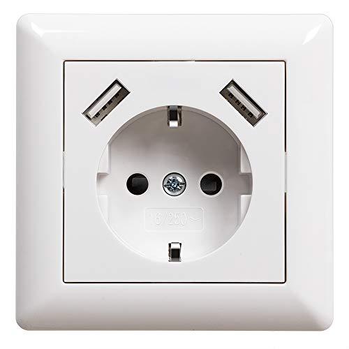 USB Steckdose Weiß Unterputz Schuko Steckdose mit USB Anschluss (Max. 2.8A) System 55 Reinweiß Glänzend Schutzkontakt-Steckdose Wandsteckdose Passent in Standard Unterputzdose für Smartphone MP3