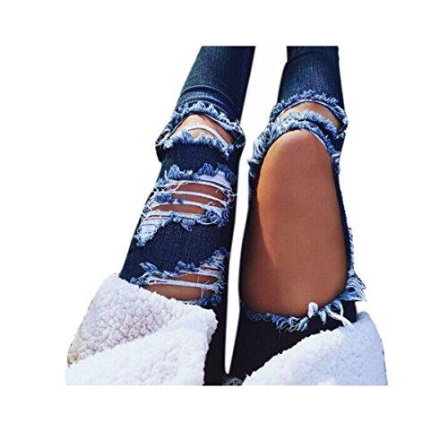 VENMO Destroyed Jeanshose Mittlere Taille Jeans Frauen lässig Blaue Kratzer Loch zerrissen Hosen Denim Hose Slim Fit Jeansshorts Kurze Hose Destroyed Used-Look Destroyed Beachwear Button (S, Blue)