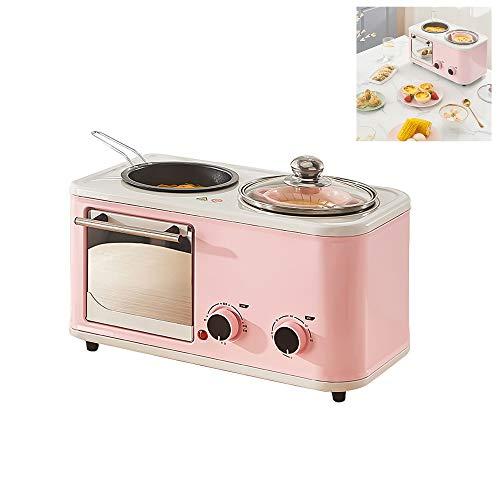 Máquina de desayuno cuatro en uno Máquina de calentamiento de desayuno multifunción Hornos tostadores de 1200 W Mini máquina de desayuno eléctrica para fritos, a la parrilla, al vapor, hervidos
