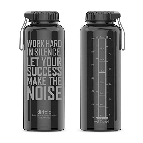 Artoid Mode Trinkflasche mit Trinkermutigung | 1500ml Motivational Zeit gekennzeichnet Wasser Flasche Wasserflasche mit Maßeinheiten | Tritan Flasche, BPA-frei, auslaufsicher