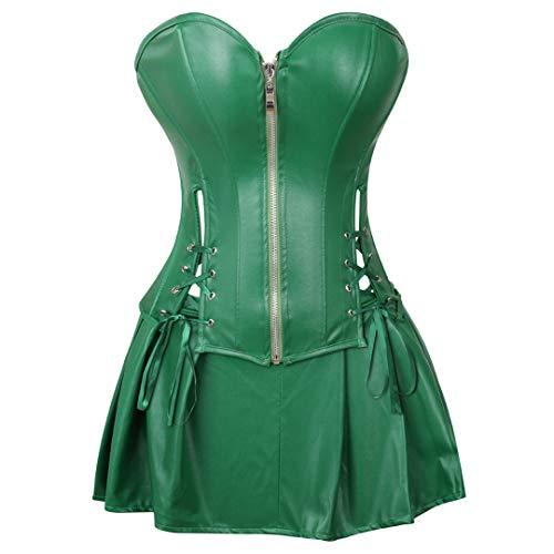 Kranchungel Women's Punk Rock Faux Leather Corset Retro Goth Waist Cincher Basque Bustier Small Green