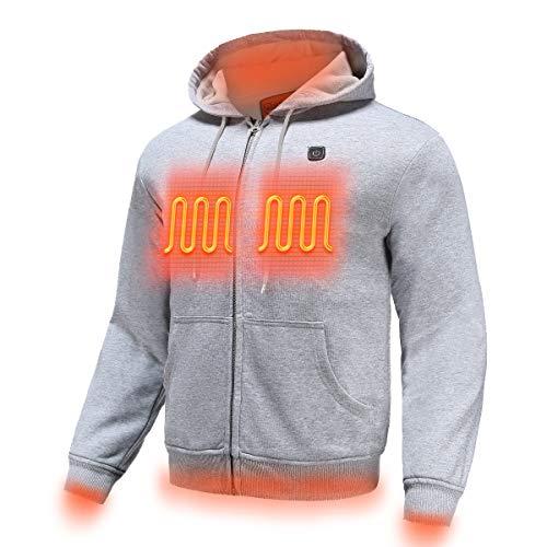 MYHEAT Heated Hoodie for Men Electric Sweater Heavyweight Fleece Sweatshirt with Battery (Gray,M)