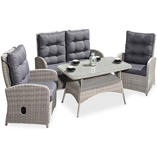 Green Spirit - Garten-Sitzgruppe/Rattan-Garnitur \'Monte Carlo\' - Grau, Poly-Rattan, Sicherheitsglas, Wetterfest, verstellbare Rückenlehnen - Garten-Möbel Set/Terrassen-Möbel