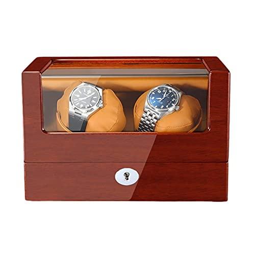 SGSG Caja enrolladora de Reloj para Relojes automáticos Pintura de Piano de Madera Exterior Cuero de PU Suave Adaptador de Almohadas para Reloj y Funciona con Pilas